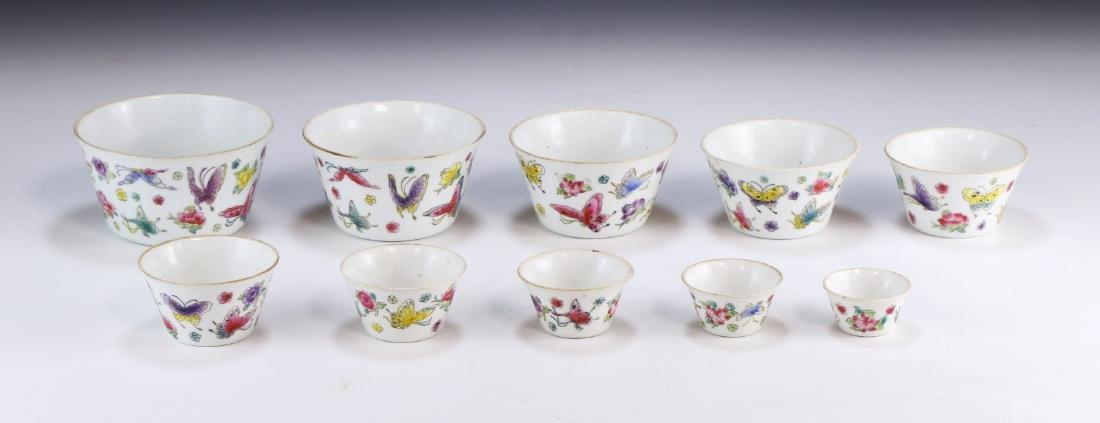 TEN (10) CHINESE FAMILLE ROSE NESTED CUPS