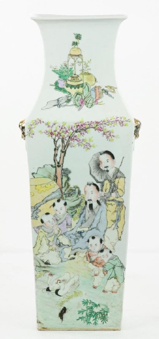 A Chinese Famille Rose Square Porcelain Vase