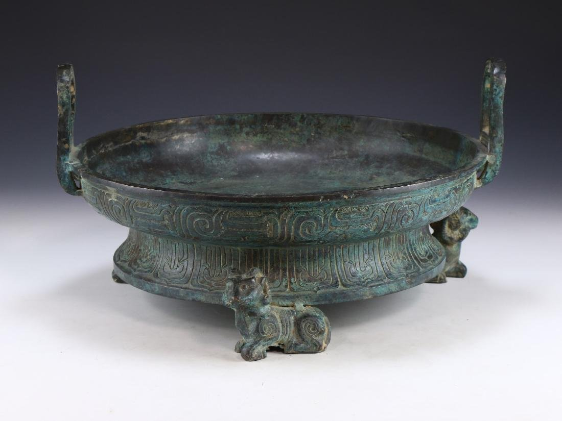 A BIG CHINESE ARCHAIC BRONZE TRIPOD CENSER