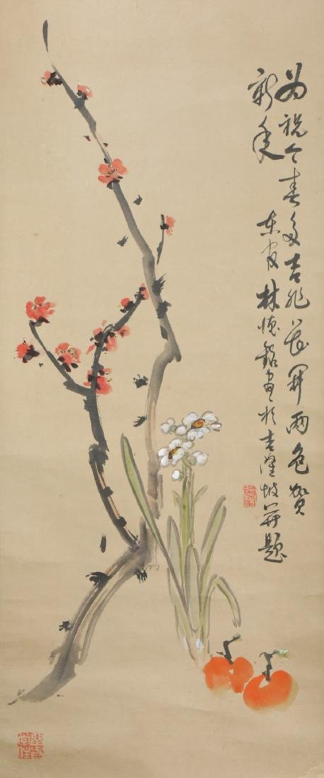 A CHINESE PAPER HANGING PAINTING BY LIN, DEMING