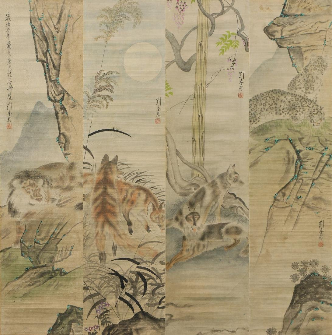 FOUR (4) CHINESE PAPER HANGING PAINTING SCROLLS