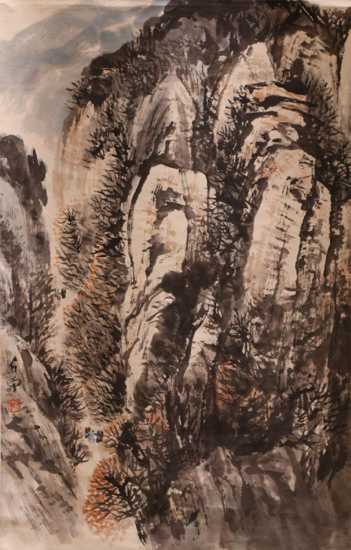 A CHINESE PAPER HANGING PAINTING SCROLL BY SHI, LU