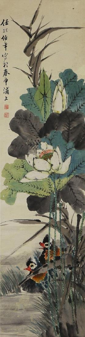 A CHINESE PAPER HANGING PAINTING SCROLL BY REN, BONIAN