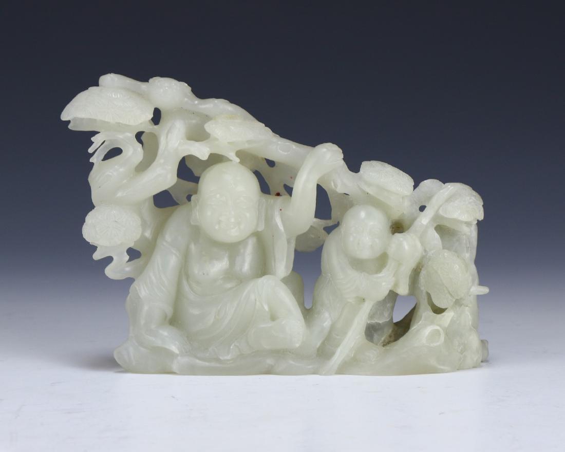 AN NEPHRITE HETIAN WHITE JADE FIGURE GROUP
