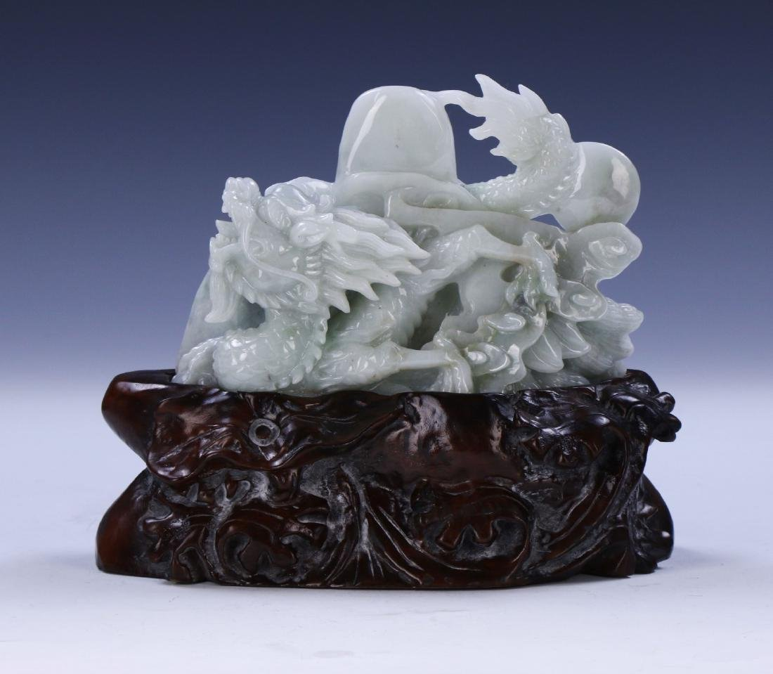 A CHINESE JADEITE CARVED DRAGON