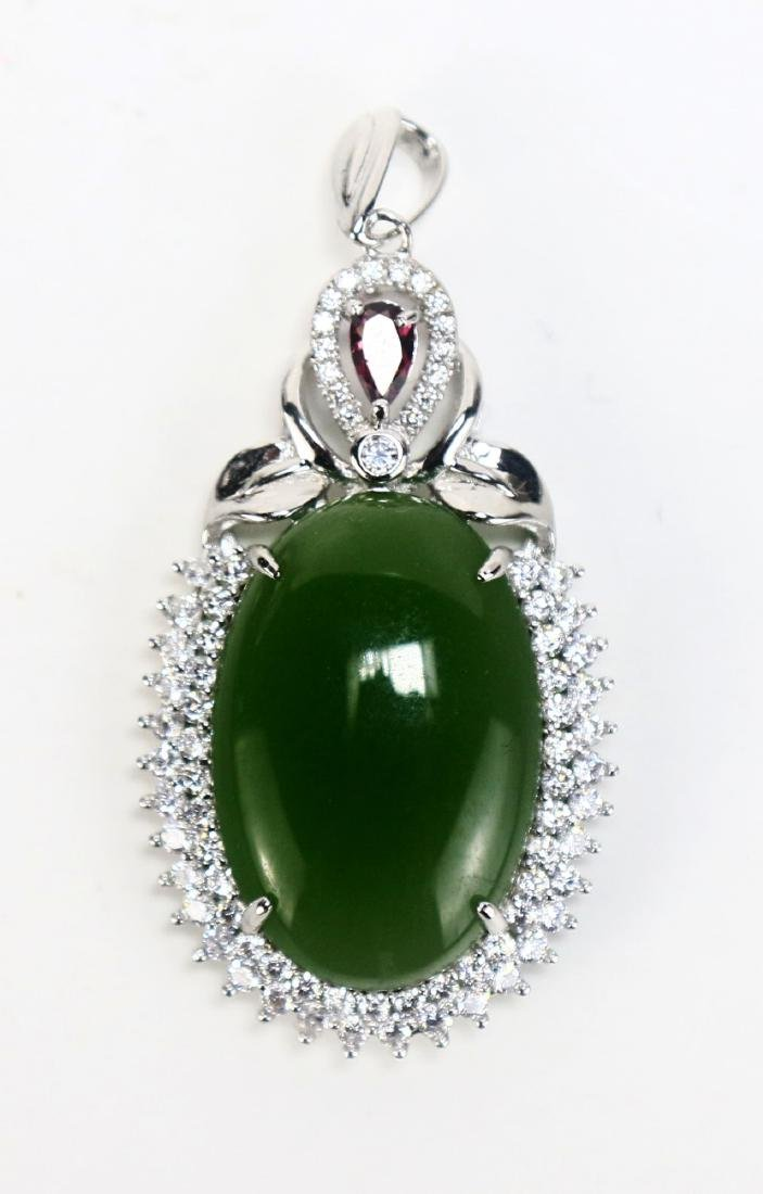 A Spinach Jade, Sterling Silver Pendant