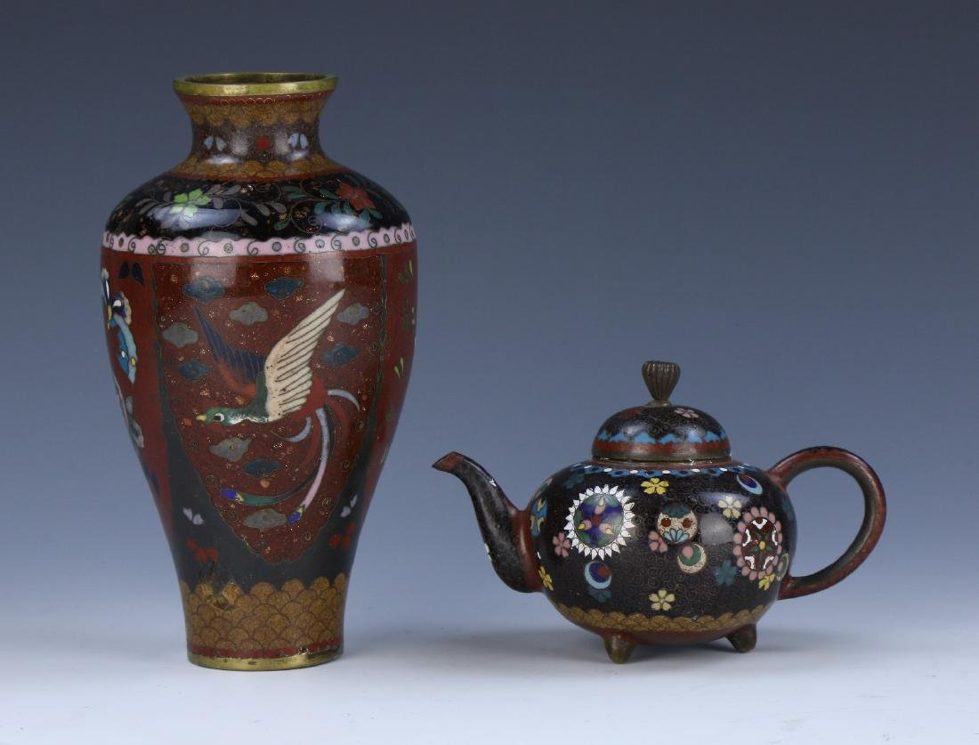 TWO (2) JAPANESE MIXED CLOISONNE ITEMS