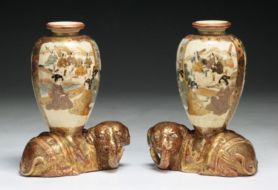 PAIR JAPANESE GILT SATSUMA VASES