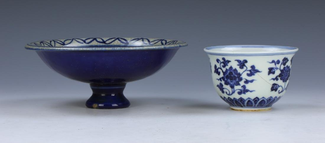 TWO (2) CHINESE BLUE & WHITE STEM BOWL AND CUP