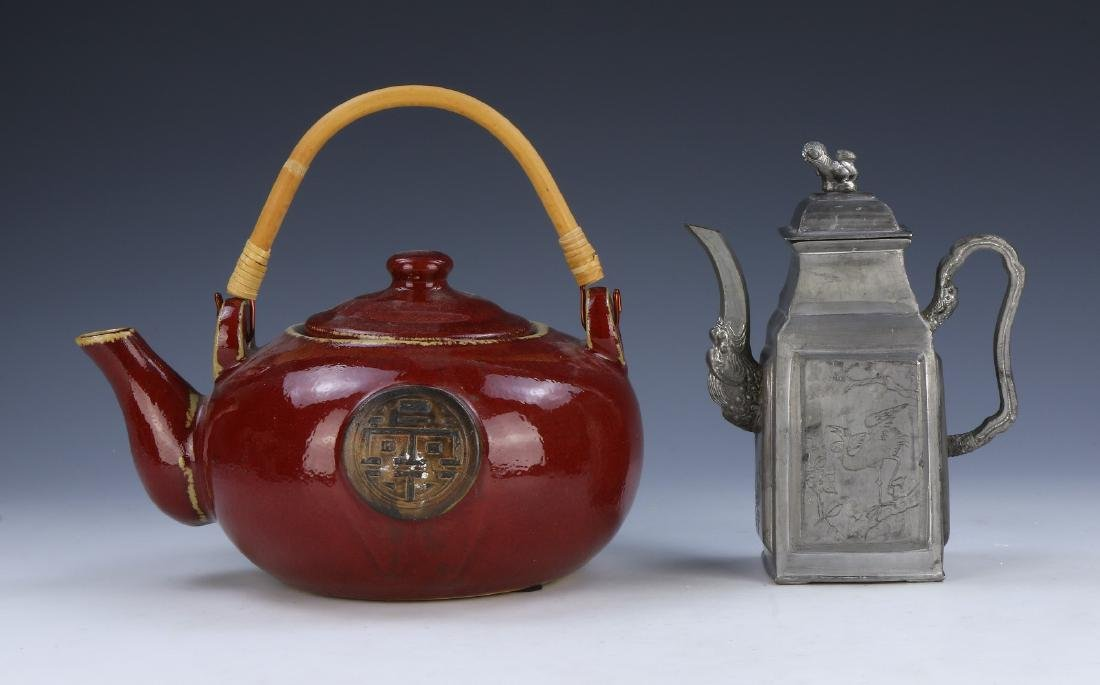 TWO (2) PORCELAIN AND PEWTER TEAPOTS
