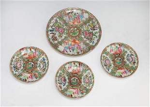 FOUR 4 CHINESE ROSE MEDALLION PLATES