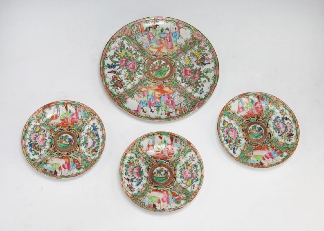 FOUR (4) CHINESE ROSE MEDALLION PLATES