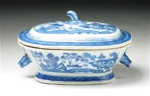 A CHINESE BLUE WHITE TUREEN WITH COVER