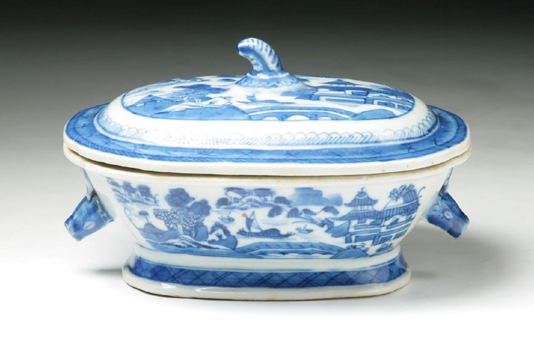 A CHINESE BLUE & WHITE TUREEN WITH COVER