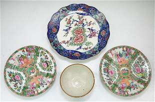 Four 4 Chinese Japanese Porcelain Plates Bowls