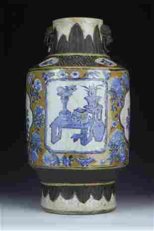 A CHINESE GE GLAZE BLUE WHITE PORCELAIN VASE