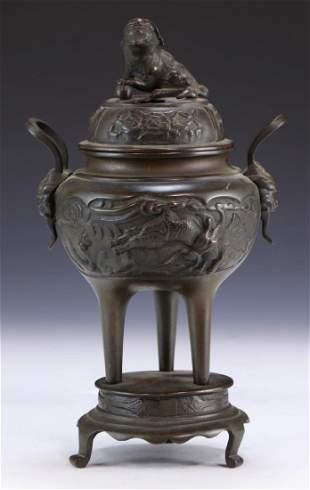 A Chinese Bronze Lidded Censer
