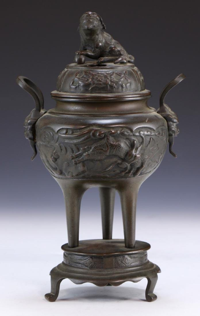 A Chinese Bronze Lidded Censer