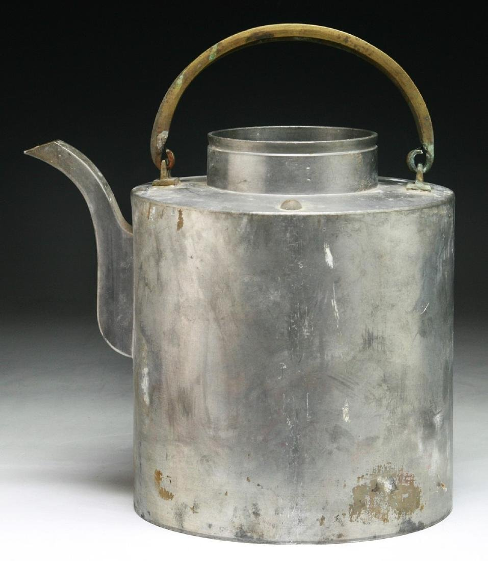A CHINESE PEWTER TEAPOT