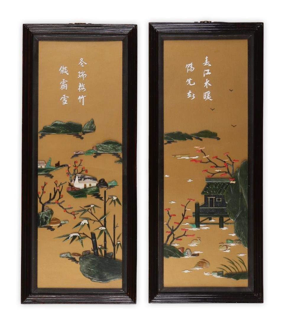 PAIR CHINESE FRAMED STONE PAINTINGS
