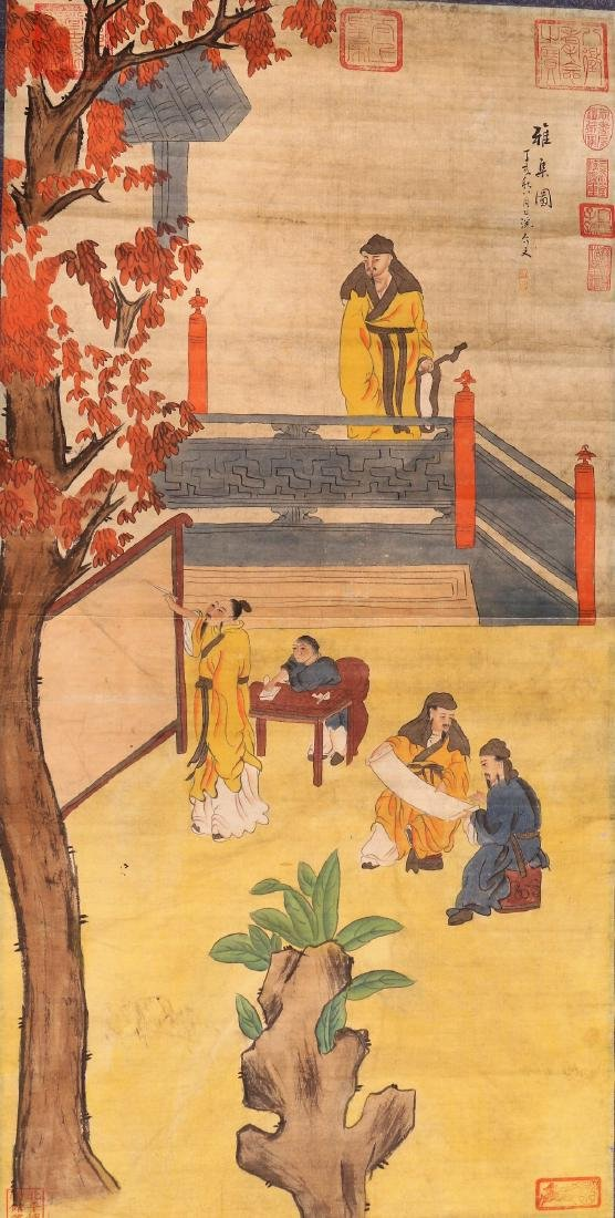 A Chinese Paper Painting Hanging Scroll
