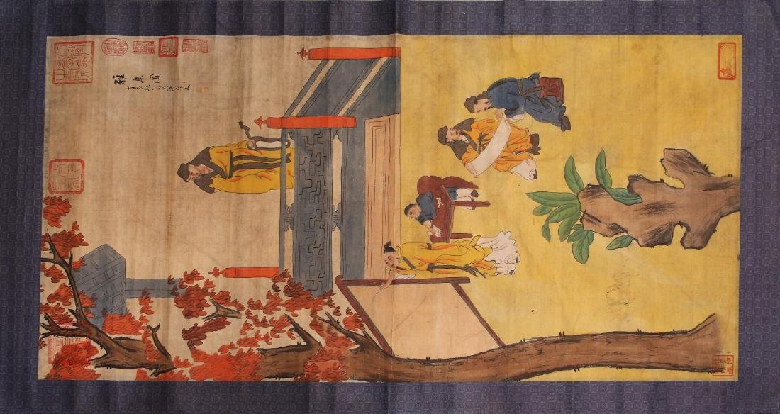 A Chinese Paper Painting Hanging Scroll - 6