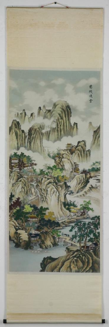 A CHINESE HANGING KESI EMBROIDERY SCROLL