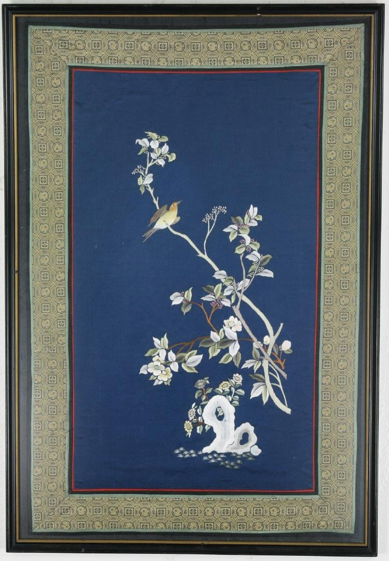 A CHINESE FRAMED EMBROIDERY PANEL