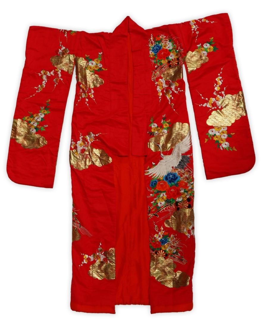A BIG CHINESE RED SILK ROBE