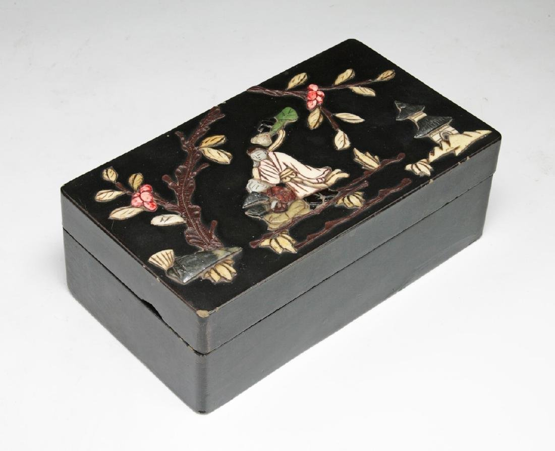 A CHINESE ZITAN APPLIQUE BOX WITH COVER