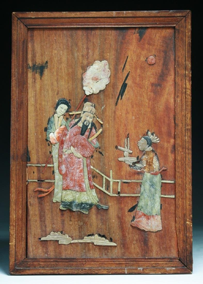 A CHINESE APPLIQUE WOOD PLAQUE