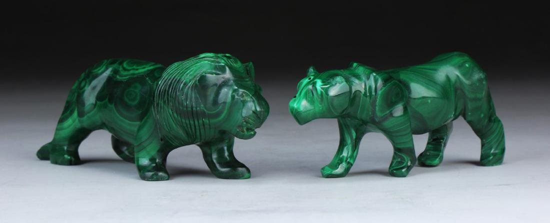 TWO (2) CHINESE MALACHITE CARVED ANIMALS