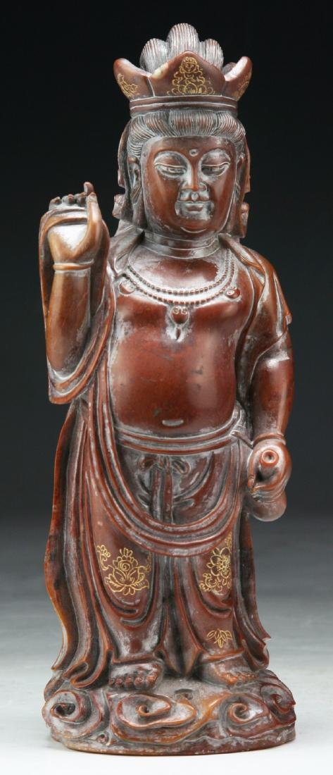 A CHINESE QINGTIAN SOAP STONE CARVED FIGURE