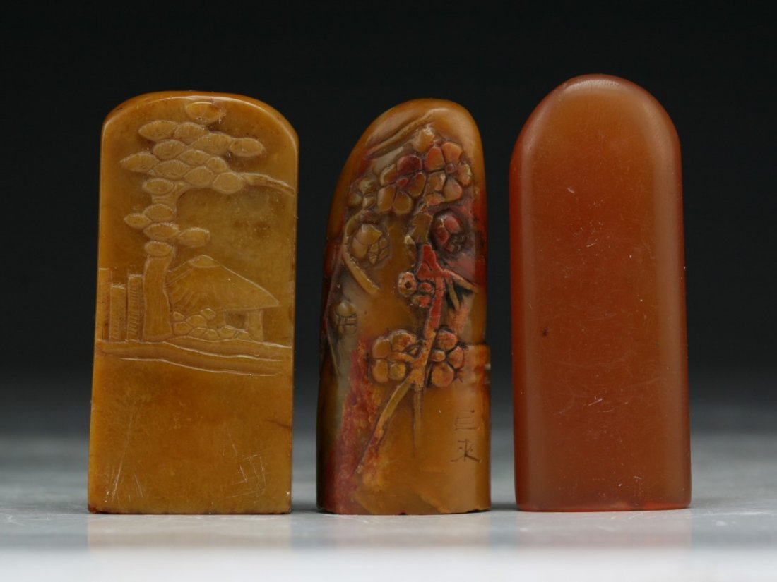 THREE (3) CHINESE SOAPSTONE CARVED SEALS