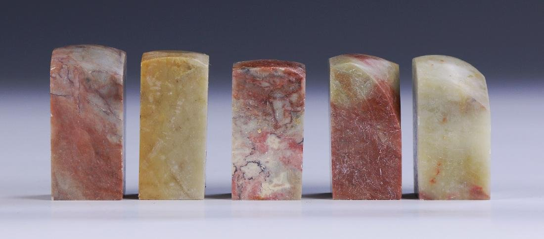 FIVE (5) CHINESE SHOUSHAN SOAPSTONE SEALS