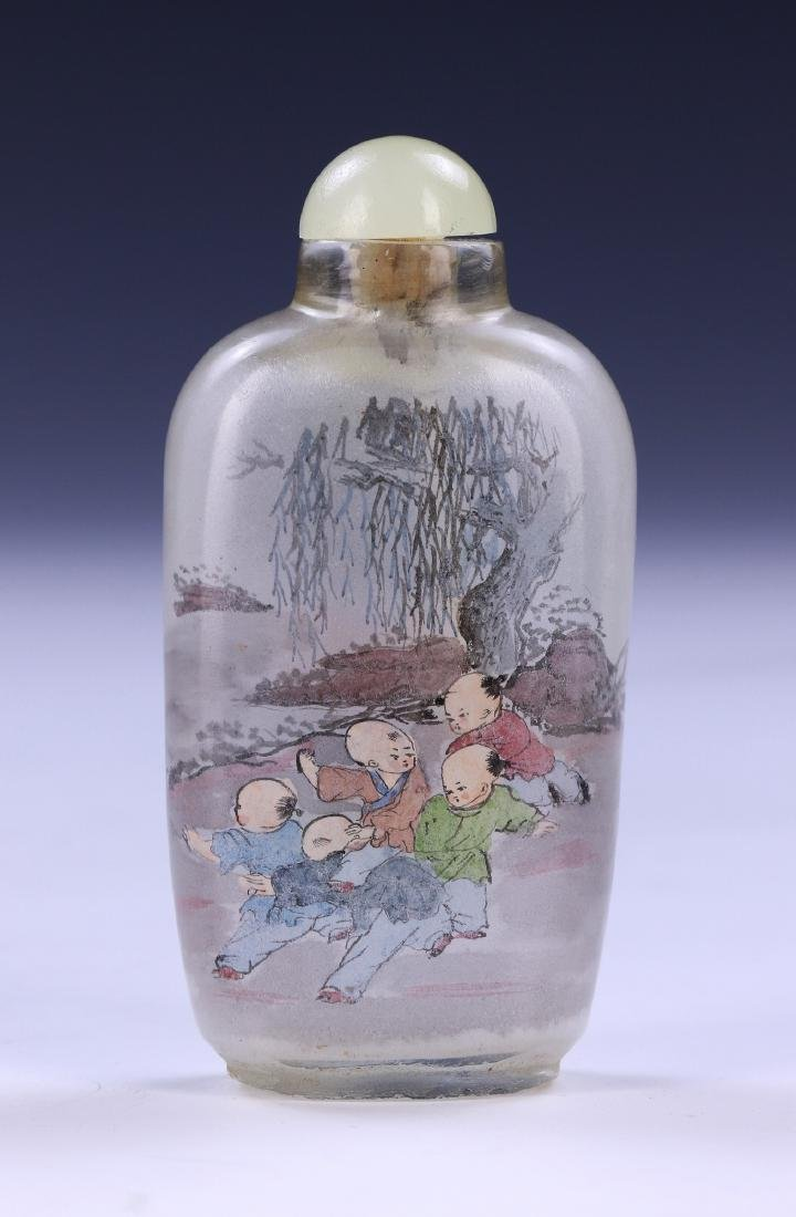 A CHINESE INSIDE PAINTED GLASS SNUFF BOTTLE - 2