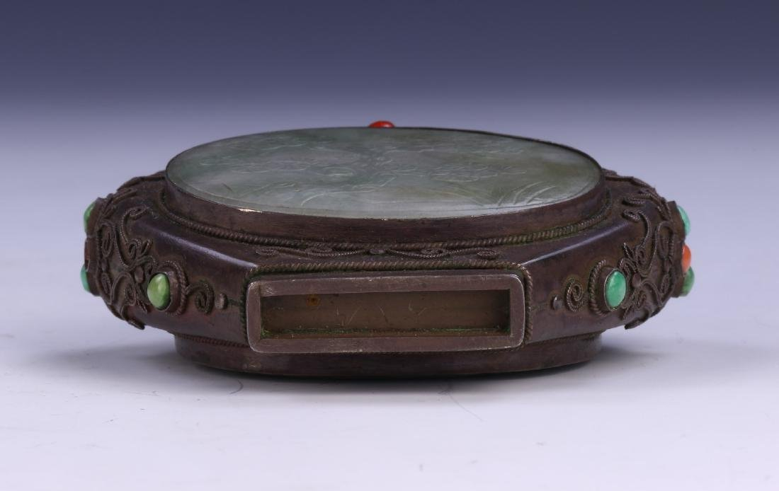 A CHINESE BRONZE & JADEITE CARVED SNUFF BOTTLE - 3