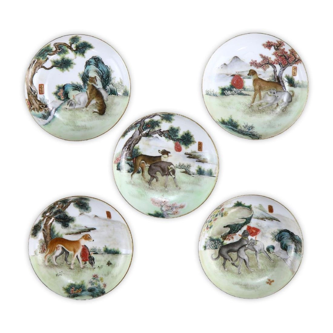 FIVE (5) CHINESE FAMILLE ROSE PORCELAIN PLATES