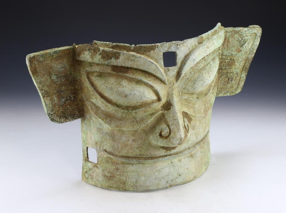 A BIG CHINESE ARCHAIC BRONZE RITUAL MASK