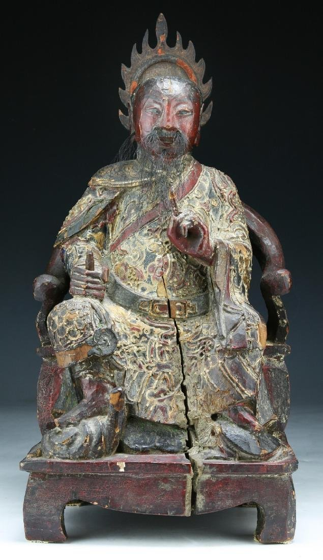 A CHINESE GILT WOOD ZHENWU DADI