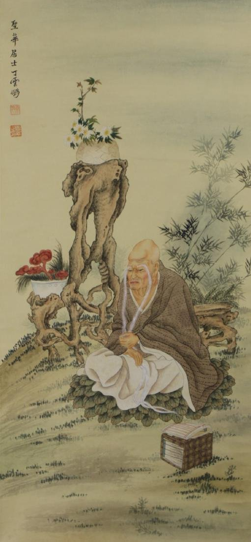 A CHINESE PAPER HANGING PAINTING SCROLL BY DING,