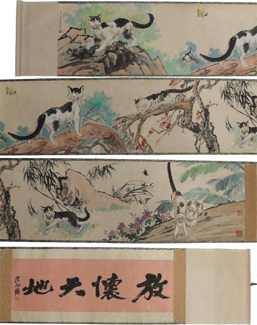 A MASSIVE CHINESE PAPER HORIZONTAL PAINTING SCROLL