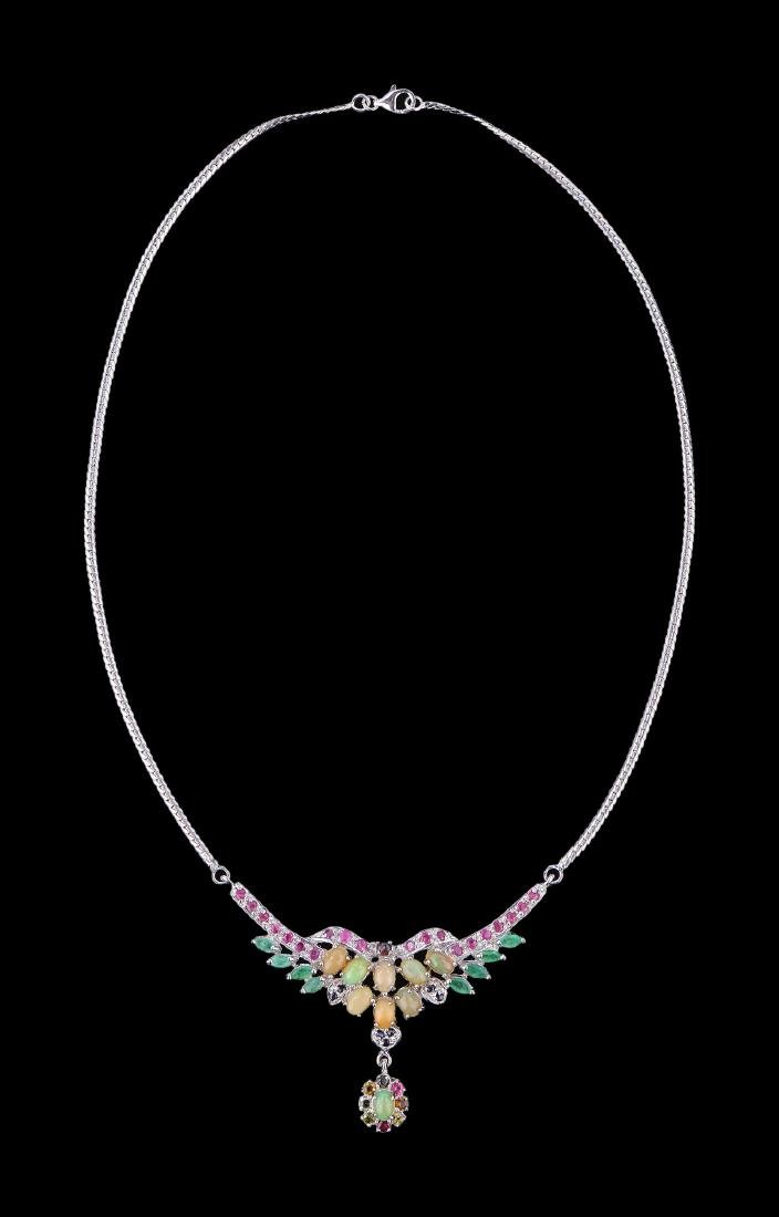 AN OPAL, RUBY & EMERALD NECKLACE