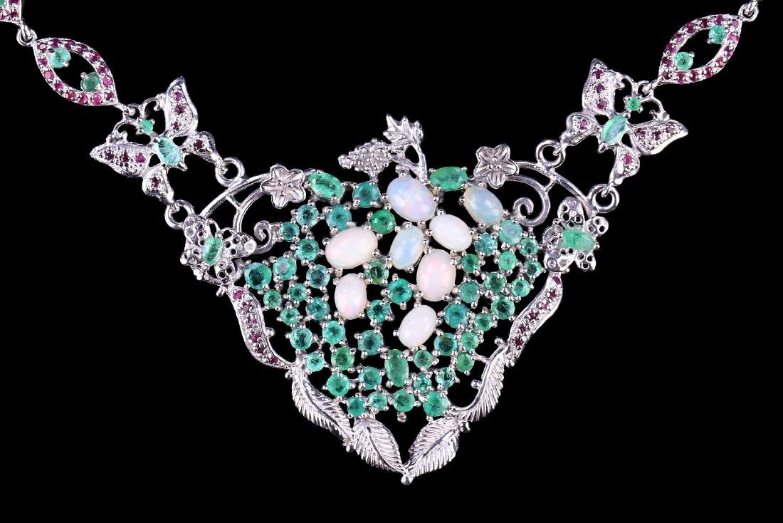 A NATURAL EMERALD, PEARL, & RUBY NECKLACE - 3