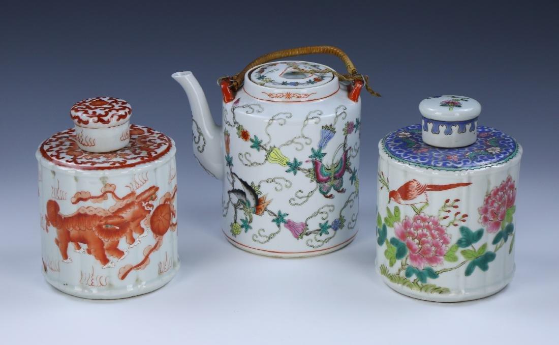 THREE (3) CHINESE MIXED PORCELAIN TEA ITEMS