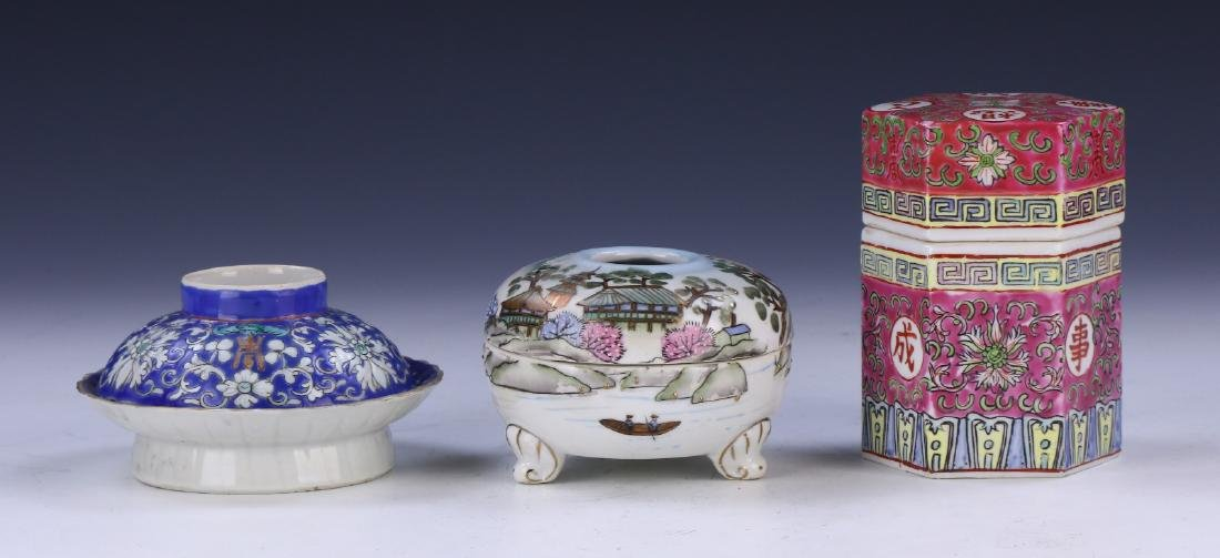 THREE (3) MIXED FAMILLE ROSE PORCELAIN ITEMS