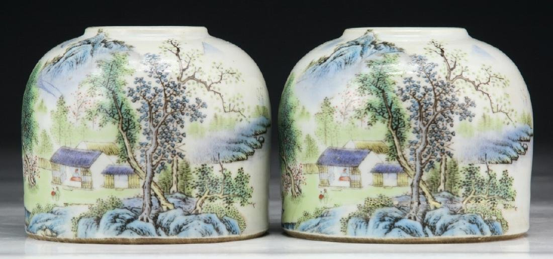 PAIR CHINESE FAMILLE ROSE WATER DROPPERS