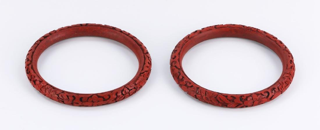 PAIR CHINESE RED CINNABAR LACQUER BANGLES