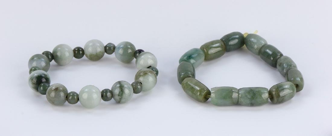 TWO (2) CHINESE JADEITE BEADED BRACELETS