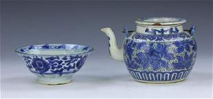 TWO 2 CHINESE BLUE WHITE MIXED PORCELAIN ITEMS